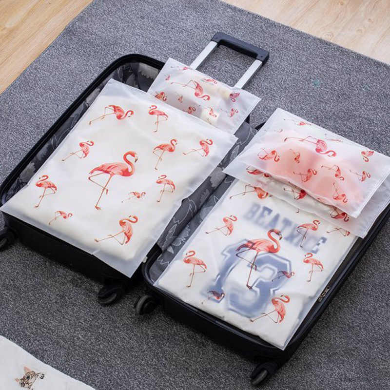 Translucent print Storage Bags Set Portable EVA Waterproof Packaging Pocket 5 pcs Travel Clothing bra cosmetic shoes Organizer