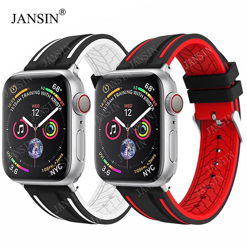 JANSIN Sport Band For Apple Watch Series 5 4 3 2 1 Silicone Strap For IWatch Colorful Soft Replacement AW Adapter 38 40 42 44mm