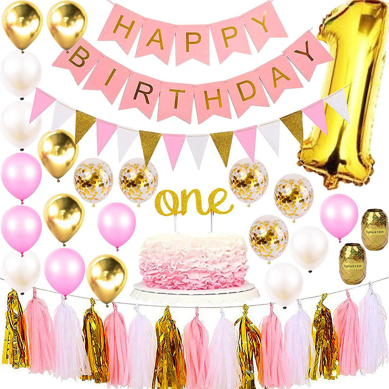 Baby Girl 1st Happy Birthday Party Decoration Suit Pink Golden Latex Balloon Cake Topper Formal Hat Banner Large Foil Digital 1