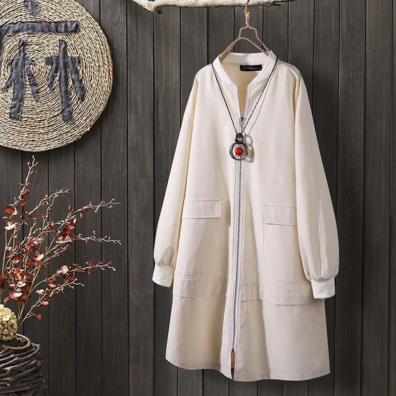 2020 Fashion ZANZEA Women Casual Long Sleeve Trench Ladies Plain Zipper Up Long Coats Female Solid Manteau Thicken Outwear 5XL