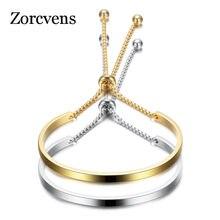 Pulseira zorcvens de aço inoxidável dourado, bracelete feminino ajustável de alta polida 2020