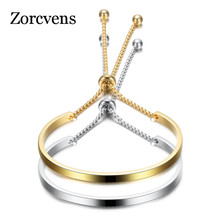 ZORCVENS 2020 New Fashion Gold Stainless Steel Bangle Bracelets For Women Adjustable High Polished Bracelet Wholesale