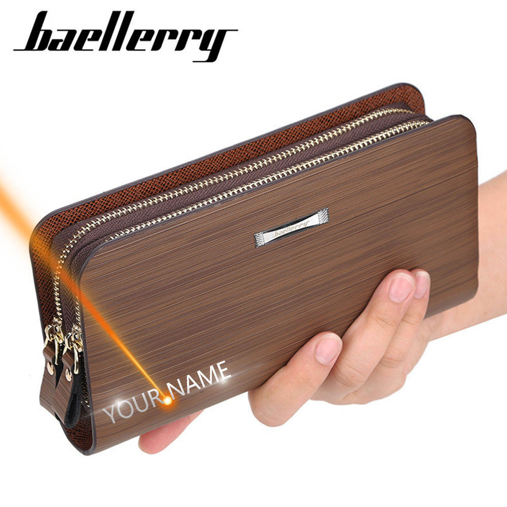 Business Wallet Clutch-Bag Cell-Phone-Pocket Free-Name-Engraving Large-Capacity Double-Zipper