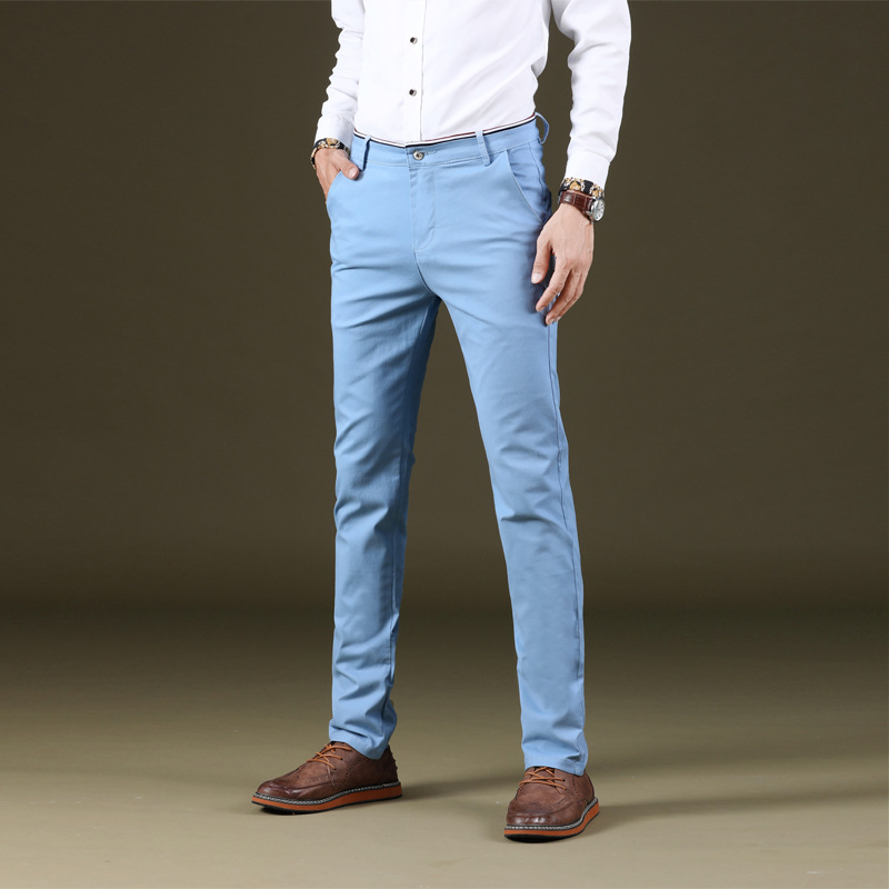 Color Cowboy Pants Young MEN'S Straight Slim Spring Summer Slimming Stretch Trousers 986