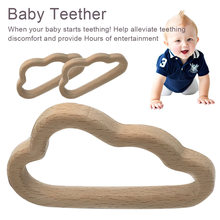 Organic Beech Wooden Clouds Natural Handmade Teether DIY Wood Personalized Pendent Eco-Friendly Safe Baby Toys