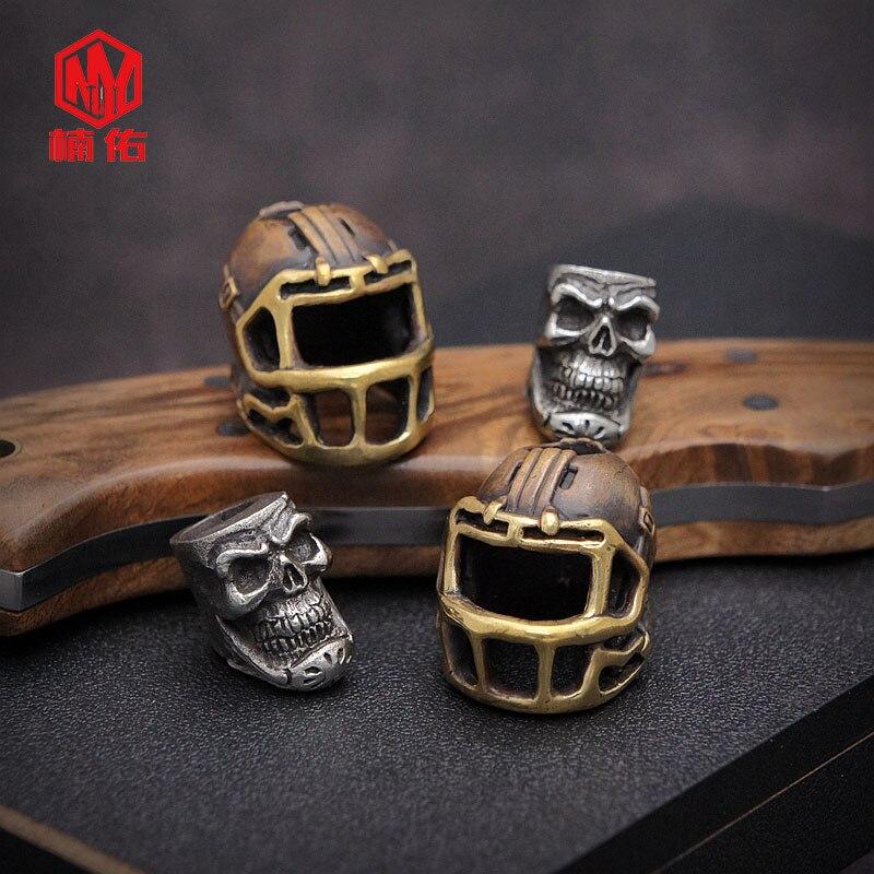 1PC rétro Bronze tibétain argent Rugby chapeau casquette de Football crâne EDC Paracord perles parapluie corde cordon lanière pendentifs couteau perles - 2