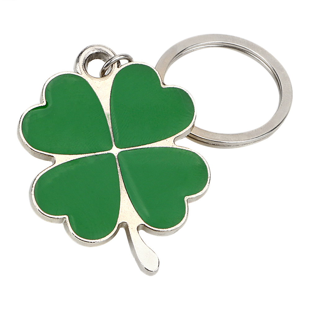 Purse Bag Pendants Auto Keyfob  Car Styling Lucky Key Chain Steel Stainless  Four-leaf Clover Key Rings Green Leaf Keychain