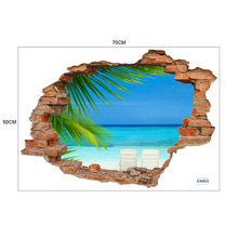 3D PVC window landscape Sunset Seascape Island Coconut Trees Wall Stickers Vinyl Wall Decals Kids Room Home Decor wallpaper(China)
