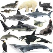 Ban đầu đại dương Sealife động vật Bộ bule Cá voi hàm cá mập hổ cá voi sát thủ rùa da trẻ em học tập đồ chơi trẻ em Quà tặng