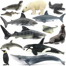 Original ocean sealife animals sets bule whale shark jaws tiger killer whale leatherback kids learning toy children gift(China)