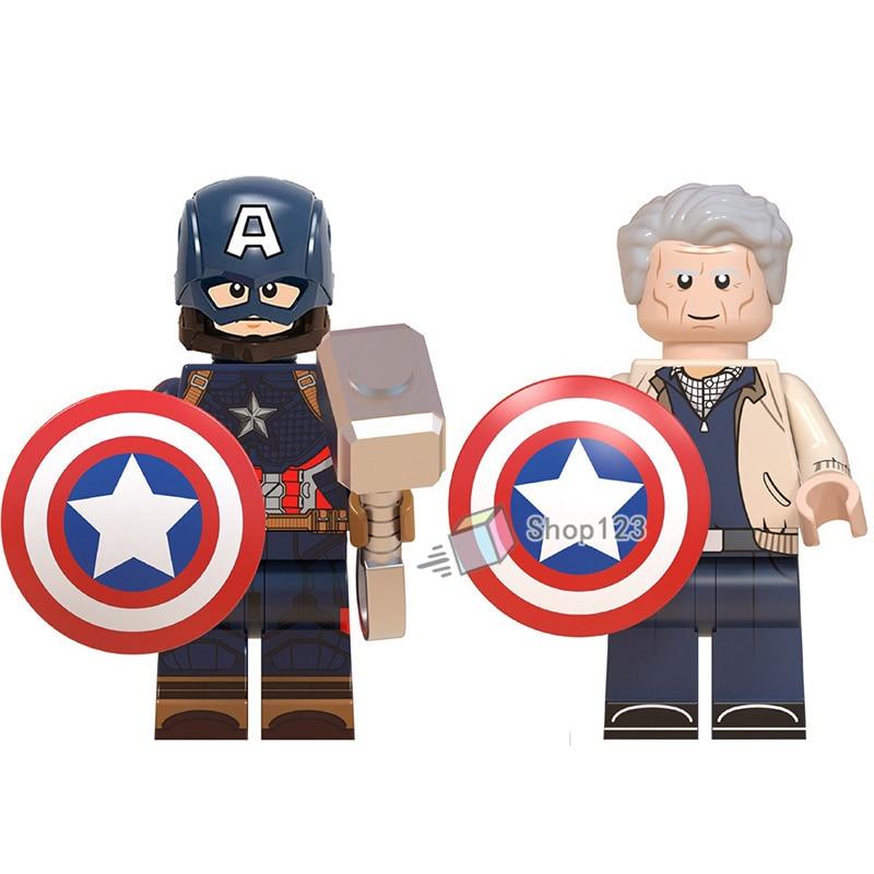 Single Captain America Shield Hammer Steve Marvel Avengers Endgame Super Heroes Building Blocks Children Toys
