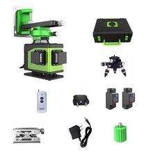 Nivel láser 4D de 16 líneas, 360, nivel Vertical y Horizontal, autonivelante, línea cruzada, 4D, nivel láser verde con exteriores