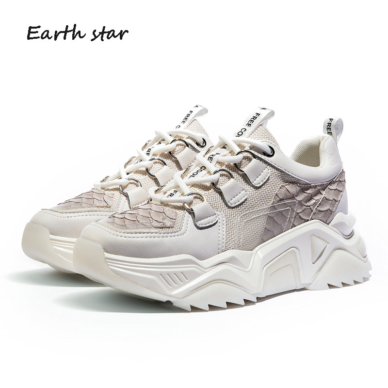 Повседневная Белая обувь; женские кроссовки на платформе; модная брендовая обувь из натуральной кожи; zapatos de mujer; женская обувь на толстой подошве; обувь для папы - 3