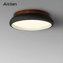 Aisilan LED תקרת אור נורדי סגנון מנורת סלון תאורה מתקן שינה מבואת מטבח עץ משטח הר מנורת AC 220V