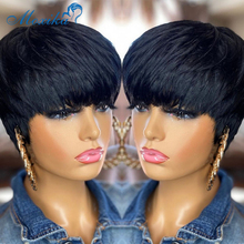 Krótkie peruki ludzkie włosy Pixie peruka ludzkie włosy krótkie peruki peruki z grzywką Remy 150 krótkie włosy peruka peruki dla czarnych damskie ludzkie włosy tanie tanio Moxika CN (pochodzenie) Remy włosy Proste Brazylijski włosy Średnia wielkość Średni brąz Ciemniejszy kolor tylko