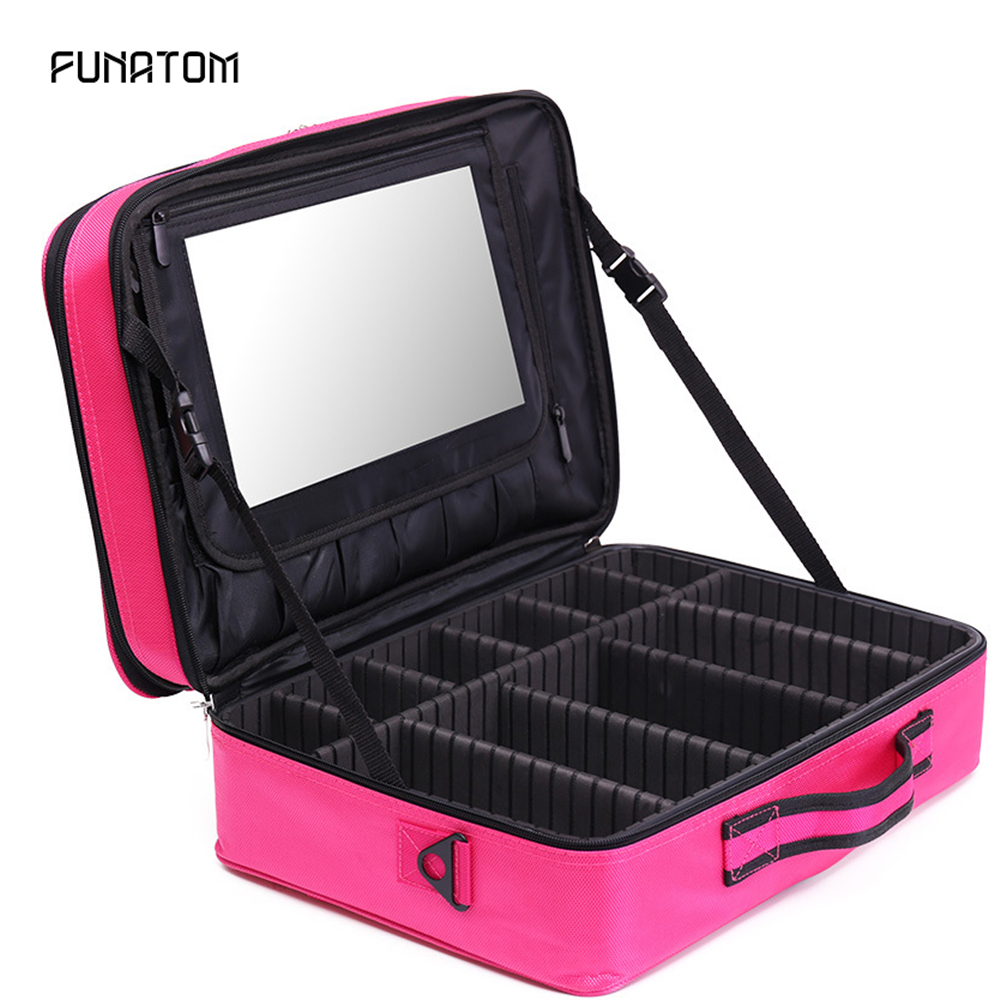 2019 Professional Cosmetic Bag Organizer Women Travel Make Up Cases Large Capacity Cosmetics Suitcases For Makeup Beauty Case