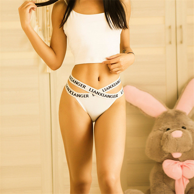 Women's Sexy Letters Print Seamless Cross Belt Low-Rise Thong Panties Sports Fitness Ice Silk G-String Ladies Briefs 4