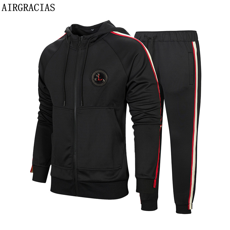 AIRGRACIAS 2020 New Sweatpants Fashion Men Sportswear Classic Black/Red Men Hoodies Sweatershirt Mens Tracksuit Two Piece Set