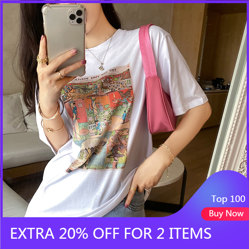 MISHOW 2020 Spring New Printed T-Shirt Women Casual Short Sleeve O-Neck Fashion Female Tops MX20B3577