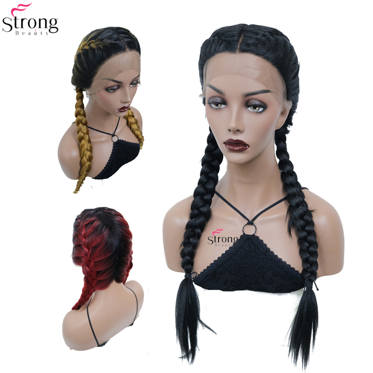 StrongBeauty Long Double Braids Wig Black/Red Roots Ombre Blonde Synthetic Braided Lace Front Wig