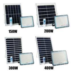 150/200/300/400W projecteur solaire extérieur étanche lampe murale Led lampes solaires multi-fonction éclairage de jardin W/panneau solaire RC