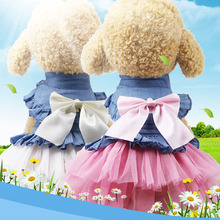 Puppy Costume Jeans Lace Dog Dress Summer Pet Dog Princess Tutu Clothes Sweetly Princess Teddy Bow Knot Dress For Small Dog