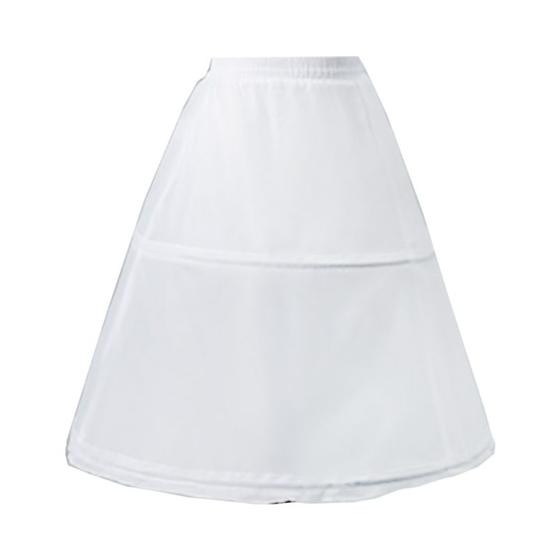 Kids Flower Girls 2 Hoop Single Layer A-Line Crinoline Drawstring Elastic Waist Petticoat For Wedding Dress Underskirt Half Slip