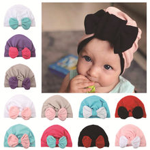 New Born Baby Hat Cap Newborn Photography Props Christmas Knotted Kids Baby Winter Boy Girl Hat Baby Boy Newborn Hats Bonnet(China)
