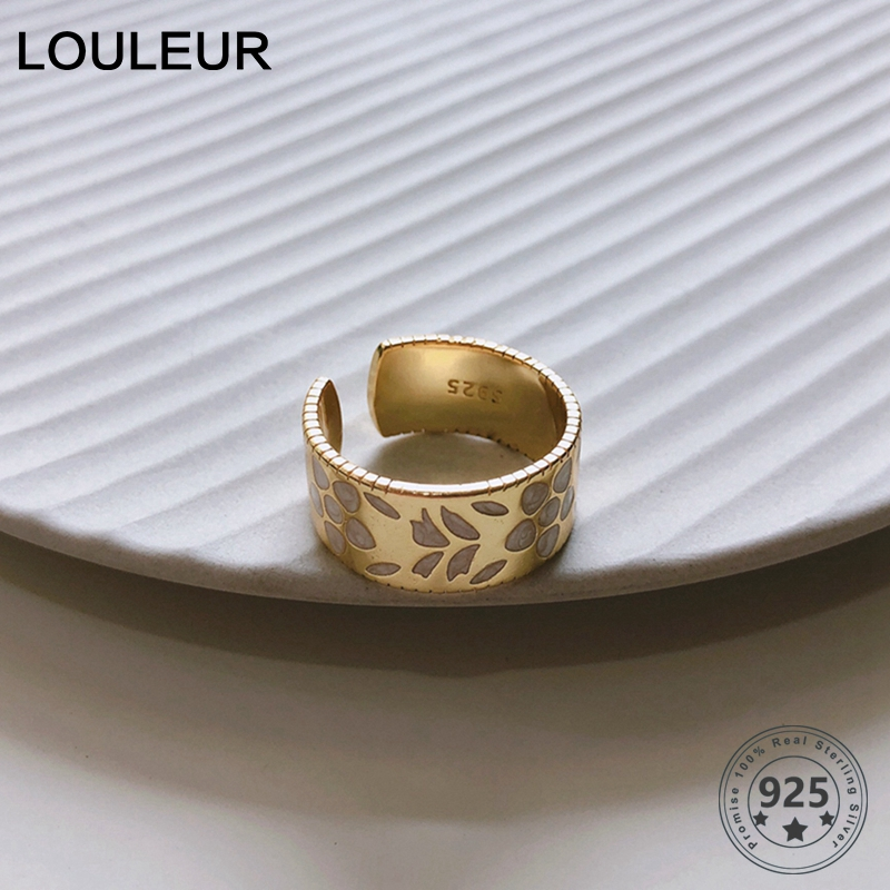 LouLeur 925 Sterling Silver Flower Gold Ring Resin Printing Big Adjustable Silver Wide Rings Girls Women Fashion Jewelry Gifts