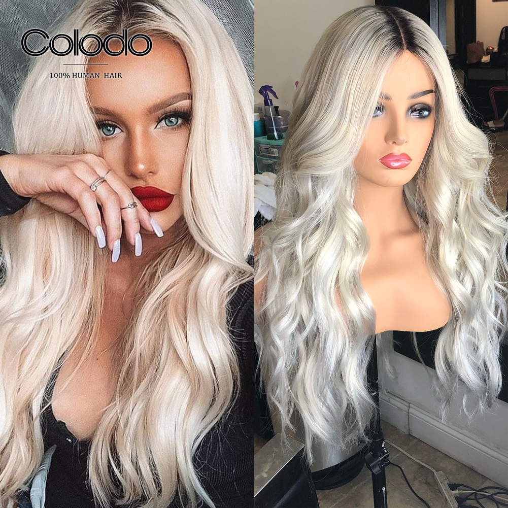 COLODO Platinum Blonde Human Hair Wigs Prepluced 1b Roots Loose Wave Wig  Brazilian Remy Lace Front Human Hair Wigs For Women