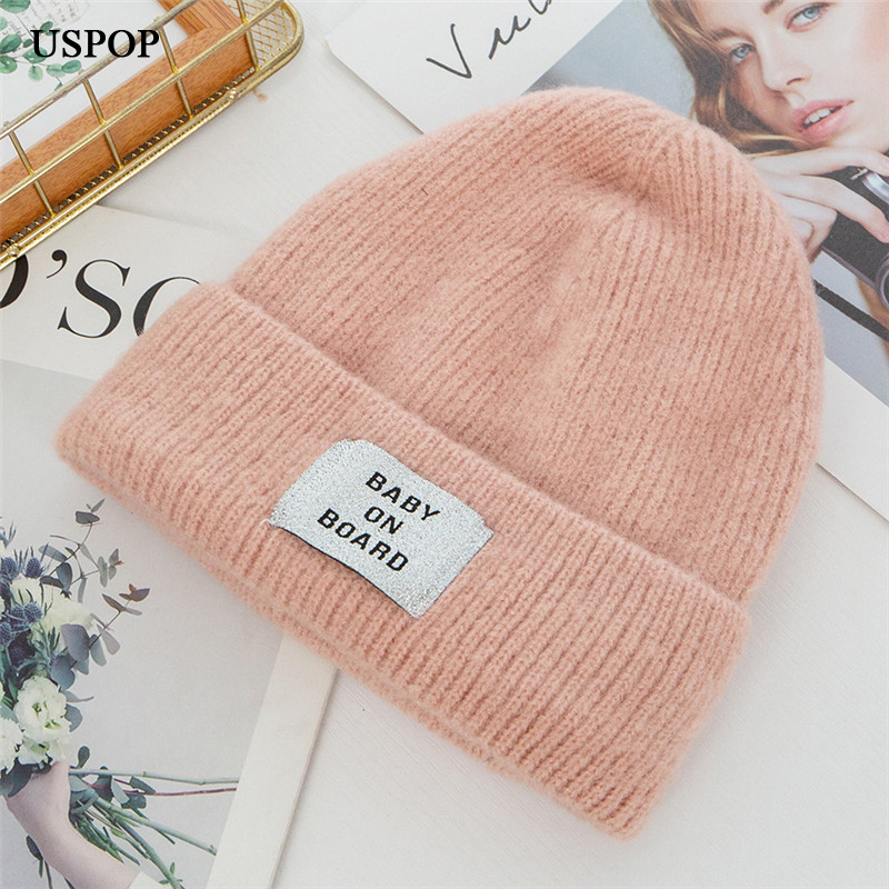 USPOP 2019 New winter thick beanies letter skullies female velvet lining knit beanies winter warm hats in Women 39 s Skullies amp Beanies from Apparel Accessories