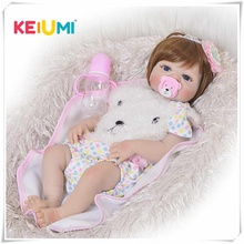 Fashion 23 Inch Reborn Baby Girl Doll Full Silicone Vinyl Baby Reborn Realistic Princess Baby Toy Doll For Children's Day Gifts 2018 new popular cute lovely toy 22 inch reborn baby doll vinyl silicone lifelike toy girl for children accompany