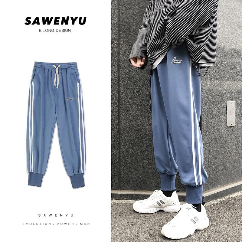 Men'S Wear Autumn & Winter Popular Brand Pants Men's Side Stripes Beam Leg Casual Pants Korean-style INS Trend Athletic Pants