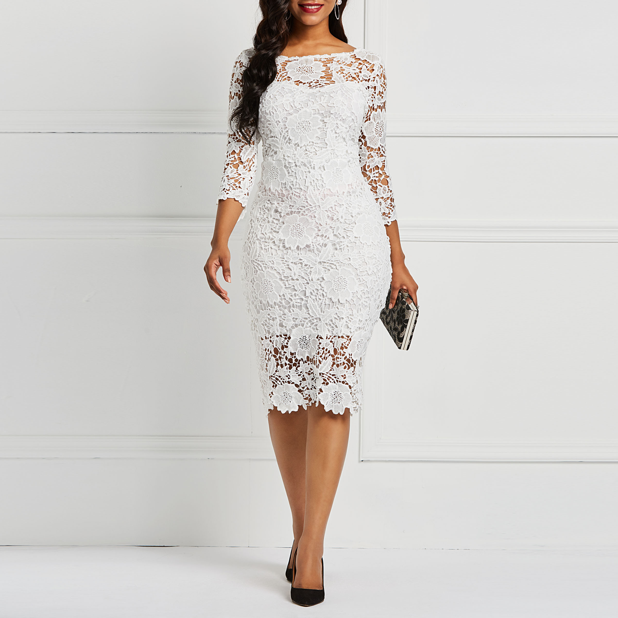 Women Midi Dresses Elegant Evening White Blue Sexy Lace Dress Party Fall Fashion Floral Office Vestido Ladies Cocktail Dresses