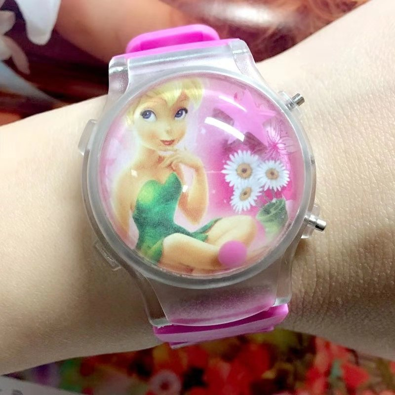 Fairy Silica Gel Band Cartoon LED Flash Light Watch For Girls And Children Luminescent Electronic Watch