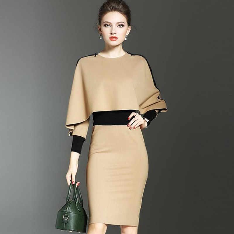 Moda zarif kadın elbise takım elbise OL çalışma ofis bayan resmi iş elbisesi Bodycon İnce Vintage pelerin palto iki parçalı Set kıyafet