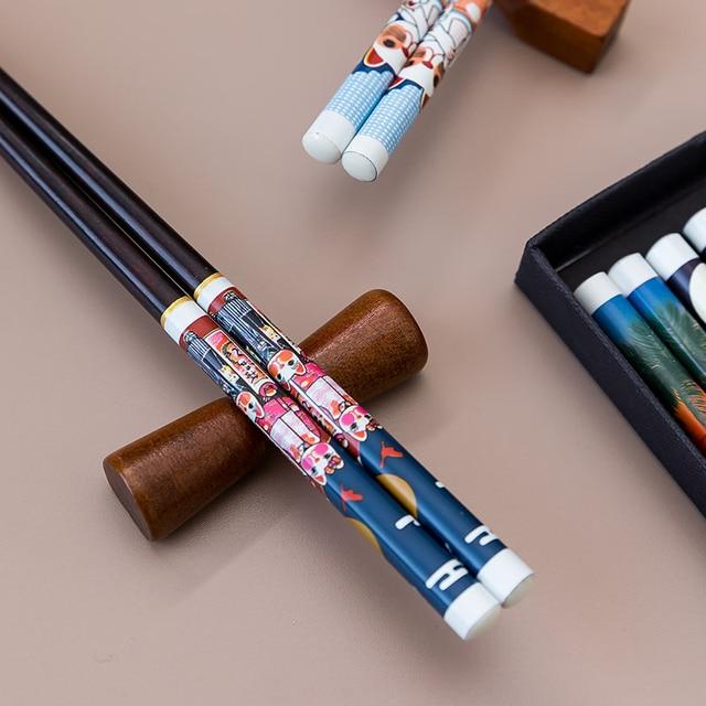 японские деревянные палочки для еды ручной работы из венге набор фотография
