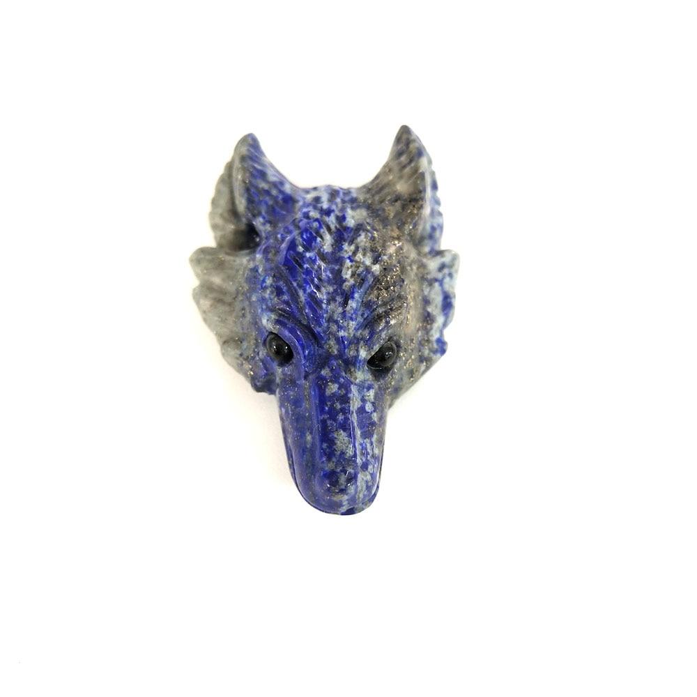 Cabeza De Lobo Tallado a Mano Colgante De Cristal Curativo Piedra Preciosa Natural Lapislázuli Regalo