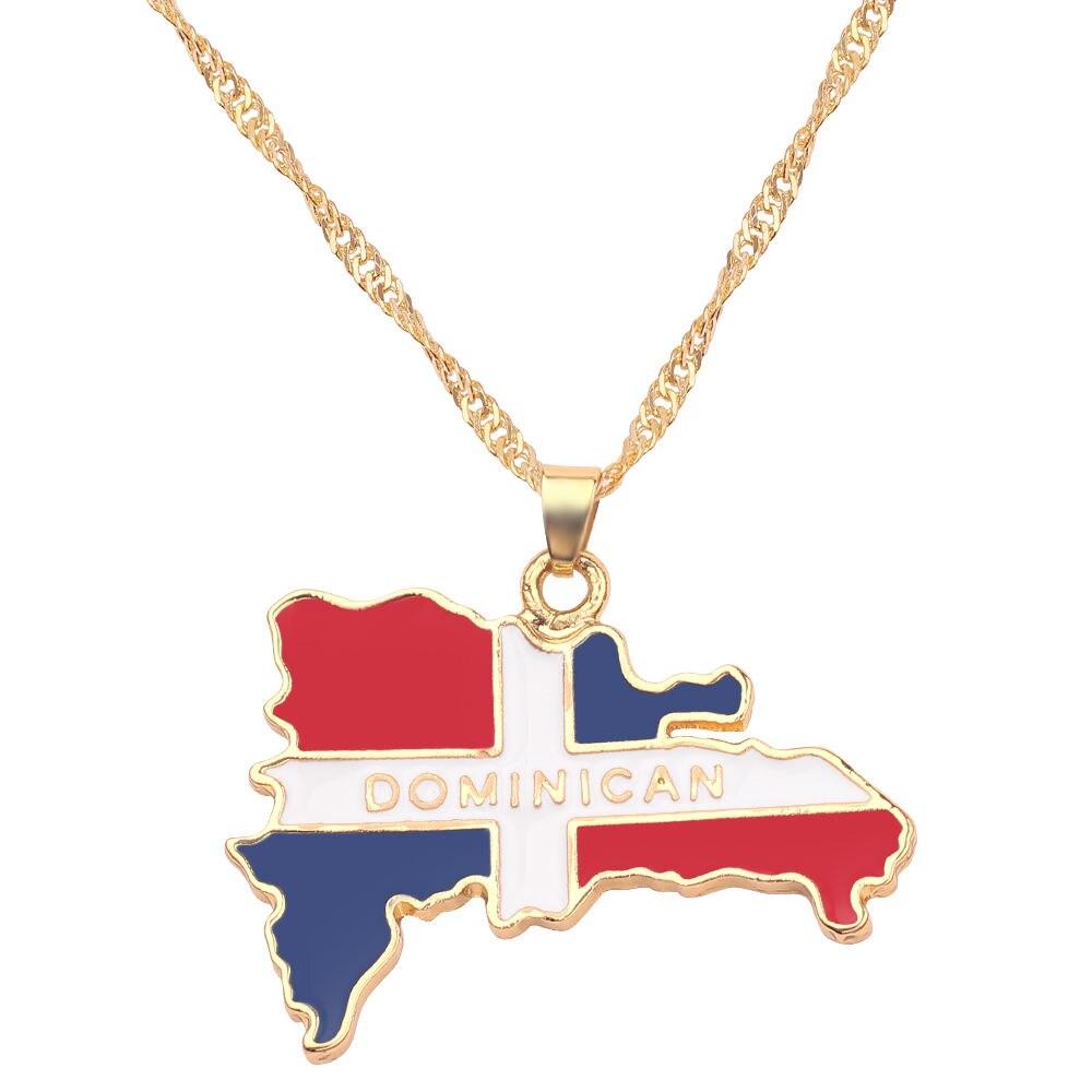 Новая карта страны, флаг, ожерелье, Африка, Гана, Liberia Undersea, Jamaica, Южная Африка, Congo, Honduras, подвеска, цепь, мужские ювелирные изделия - Окраска металла: Dominica