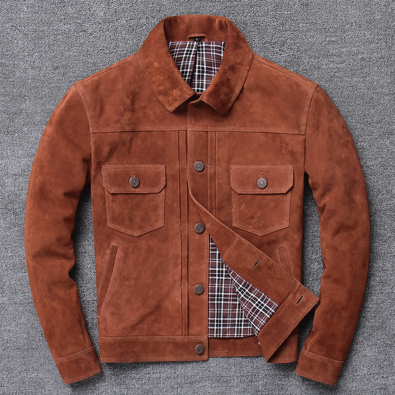 Farctory 2020 New Men Brown Suede Cowhide Jacket Casual Single-breasted Tooling Cowskin Jackets Free Shipping