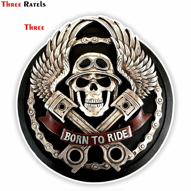 Three Ratels FTC-782# 14X14.9CM Skull Car Sticker Motorcycle Decal Car Accessories Styling For Car