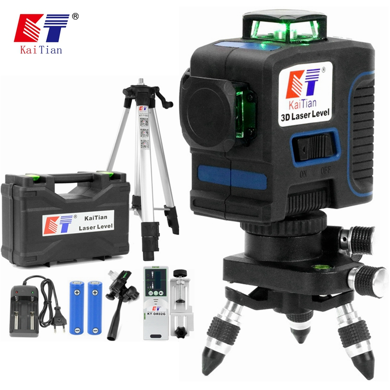 Kaitian Laser Level Tripod Green 12 Lines Self-Leveling Vertical Horizontal Powerful 360 Bracket 532nm 3D Nivel Lasers Receiver