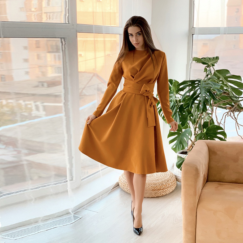 Women Casual Bandage A Line Midi Party Dress Ladies Long Sleeve O Neck Elegant Solid Dress 2020 New Spring Vintage Fashion