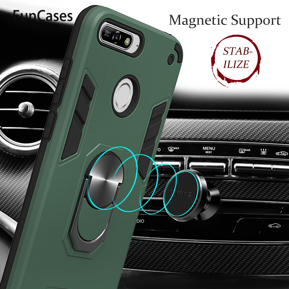 Telephone Covers For Huawei Y6 2018 Car Magnetics Finger Ring Holder Coque PC TPU Case Huawei case Honor 7A Y6 Prime 2018