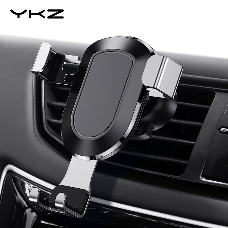 YKZ Car Phone Holder Metal Auto-locked Grip Phone Holder Car Holder Mount Mobile Phone Holder Stand For IPhone XS Max X 8 7 6S 5