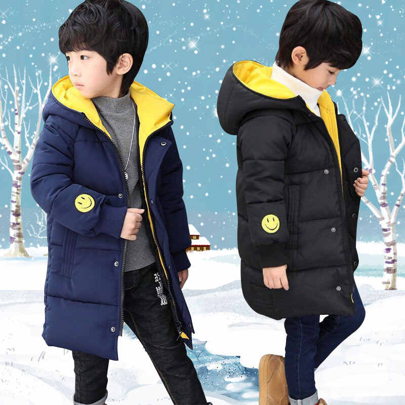 Baby boy's clothes winter thick warm down jacket cotton fashion cotton smiley print hooded jacket long cotton boy's cotton coat