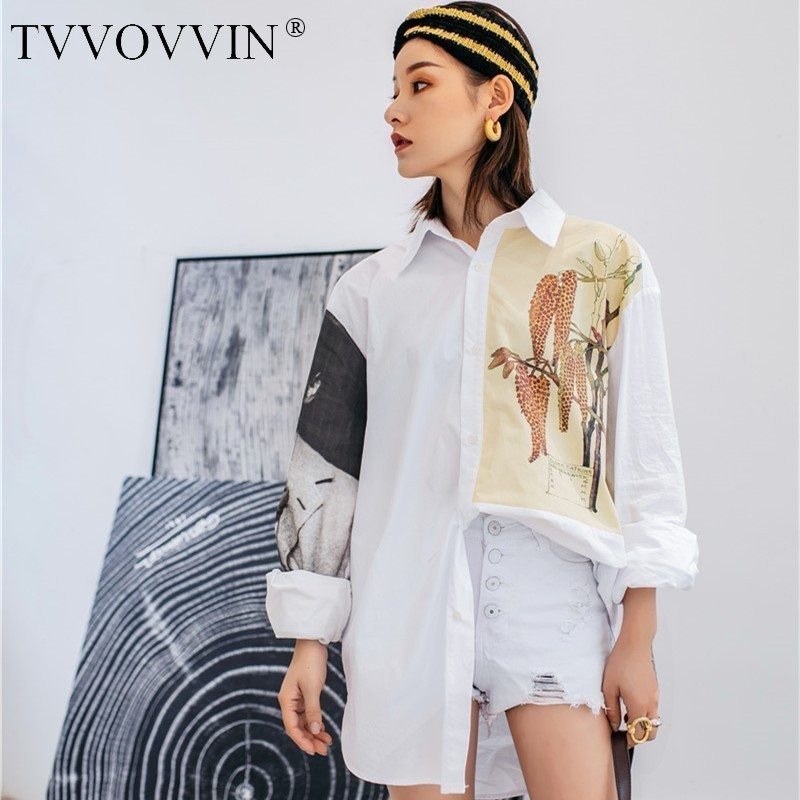 TVVOVVIN 2019 New Summer Thin Loose Women Dresses Big Size Printed TURN-down Collar Shirt Dress WG12300L Fashion Tide V559