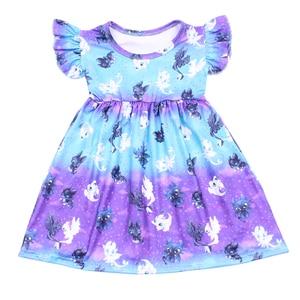 Image 1 - Butik kız karikatür elbise yüksek kaliteli çarpıntı kollu Frocks çocuklar kızlar için bir çizgi mavi mor süt ipek elbiseler çocuklar