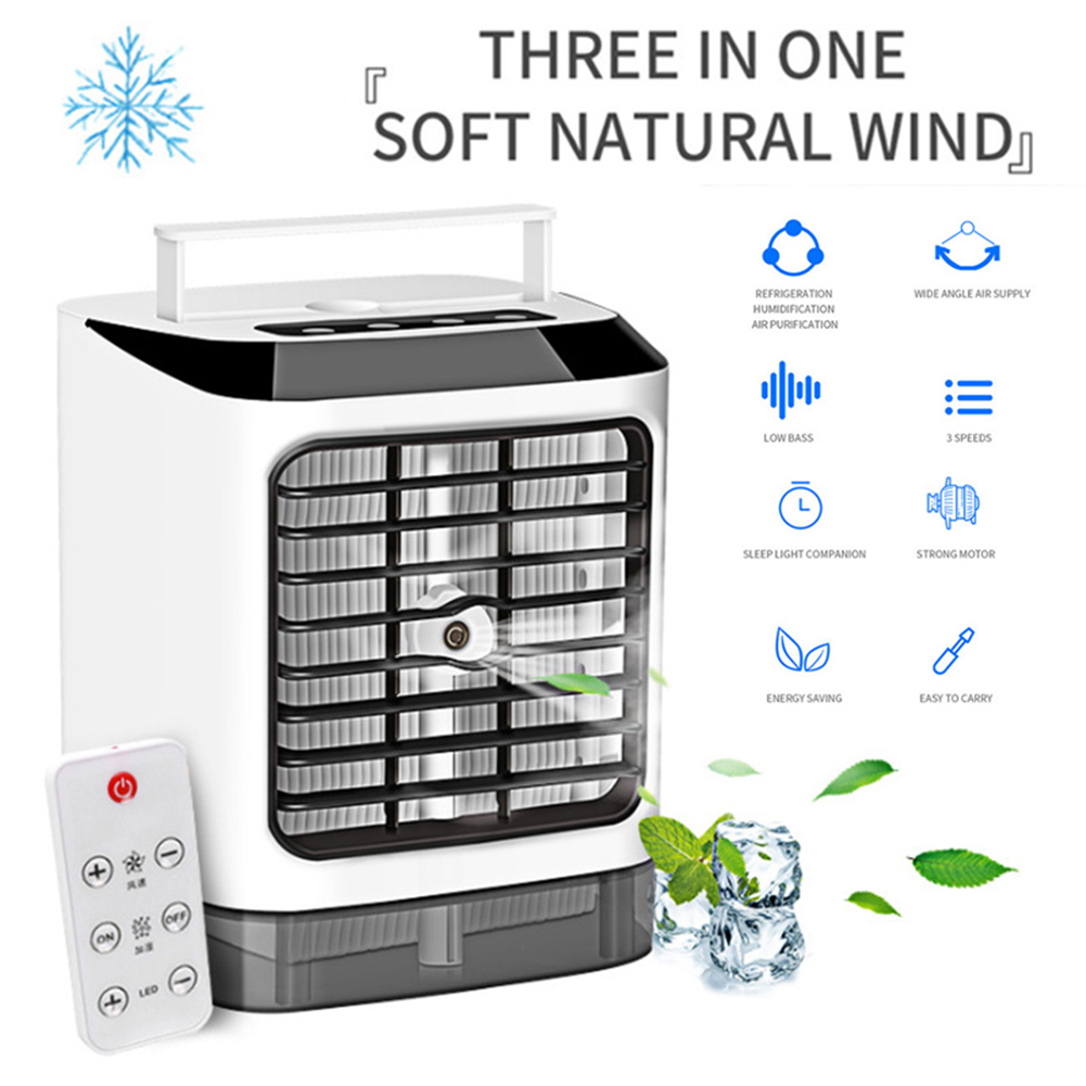 3 In 1 Mini Air Conditioner Air Cooler 7 Colors LED Conditioning Humidifier Purifier USB Desktop Cooling Fan + Remote Controller