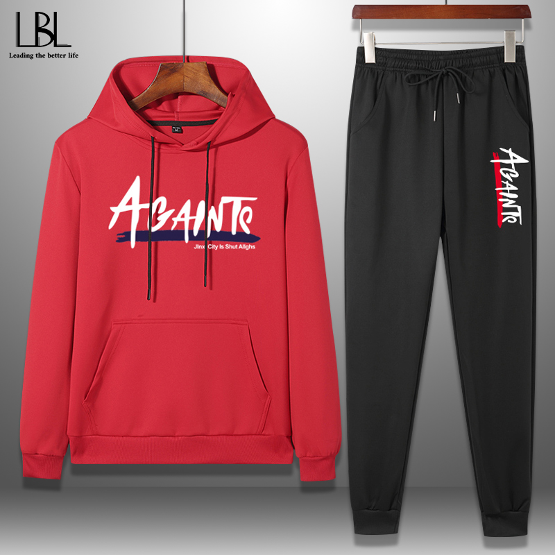 Sportswear Tracksuit Men Hoodies Sets Outwear Casual Mens Clothing 2 Pieces Set Sweatshirts+SweatPants Fitness Clothes Spring